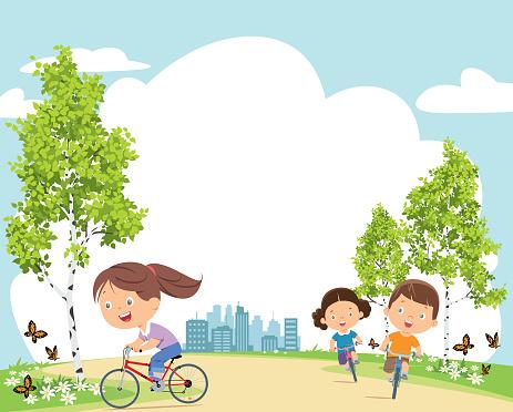 Happy kids on bicycles