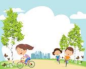 Vector happy kids on bicycles