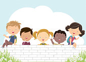 Vector Happy kids on the white wall