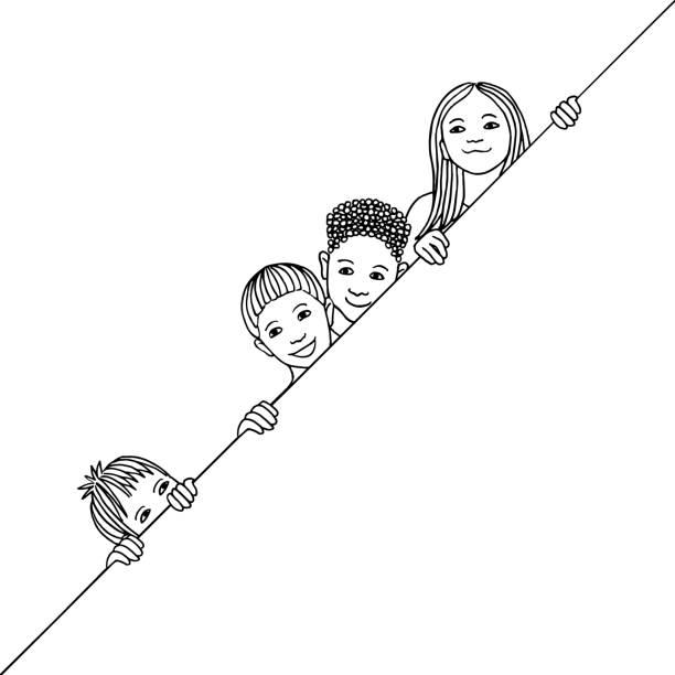 Happy kids peeking behind a diagonal line vector art illustration