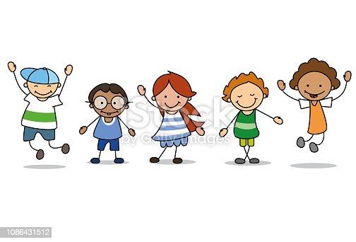 istock happy kids playing  - children  illustration , boys and girls 1086431512