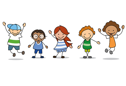 happy kids playing  - children  illustration , boys and girls clipart