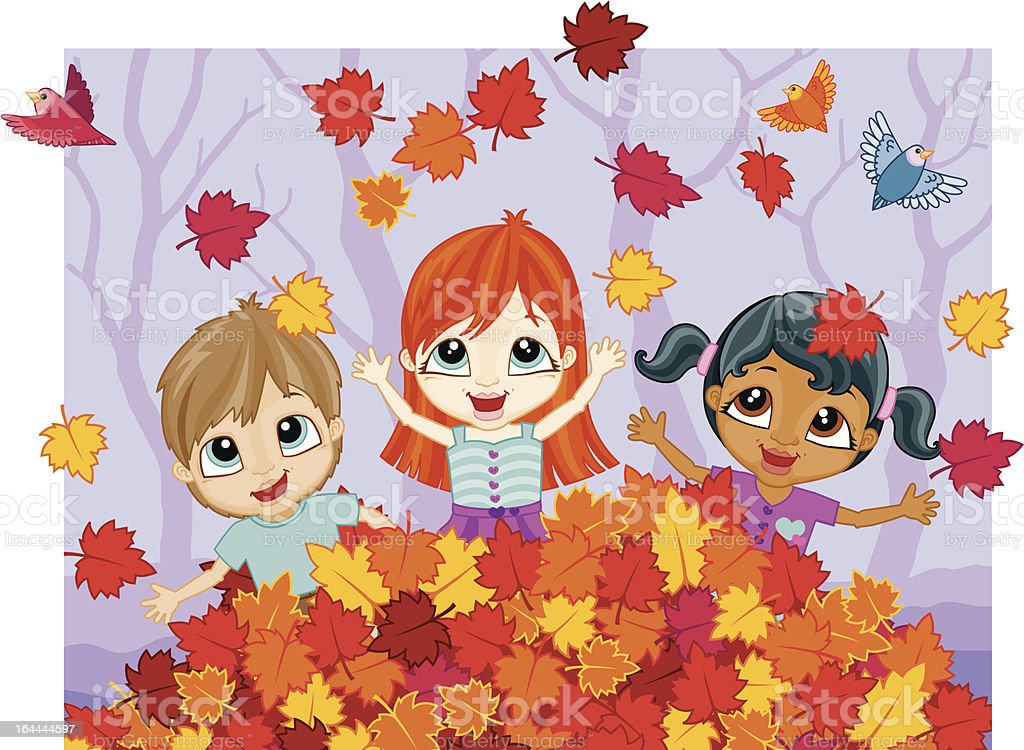 Happy Kids Playing In A Pile Of Leaves Stock Illustration Download Image Now Istock