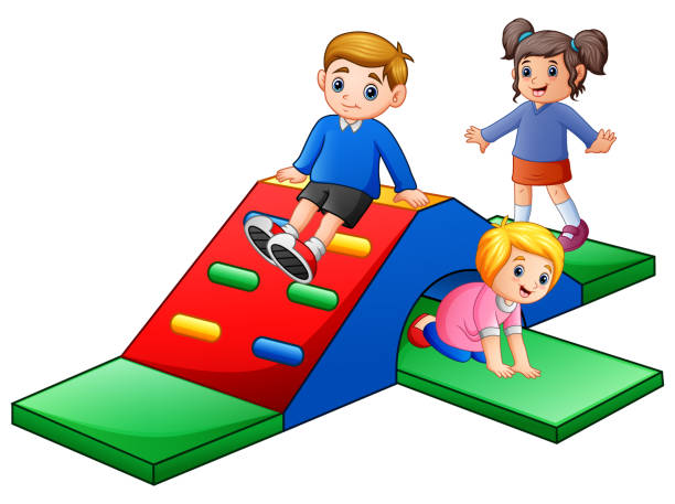 stockillustraties, clipart, cartoons en iconen met gelukkige jonge geitjes spelen in de speeltuin - mini amusementpark