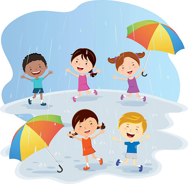 happy kids playing in the rain - kids playing in rain stock illustrations, clip art, cartoons, & icons