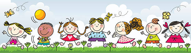 Happy kids playing on the grass- Illustration vector art illustration