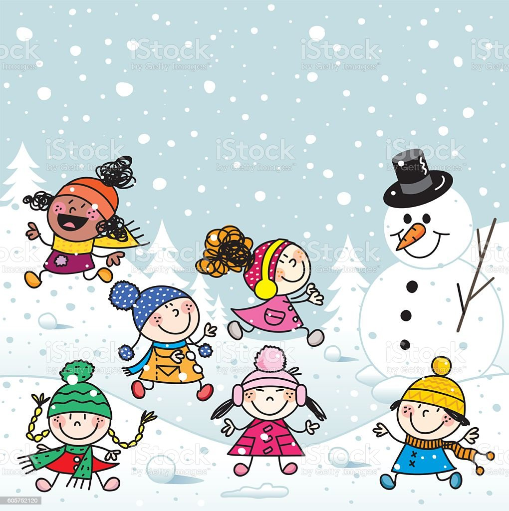 Happy Kids Playing On The Snow Illustration Stock ...