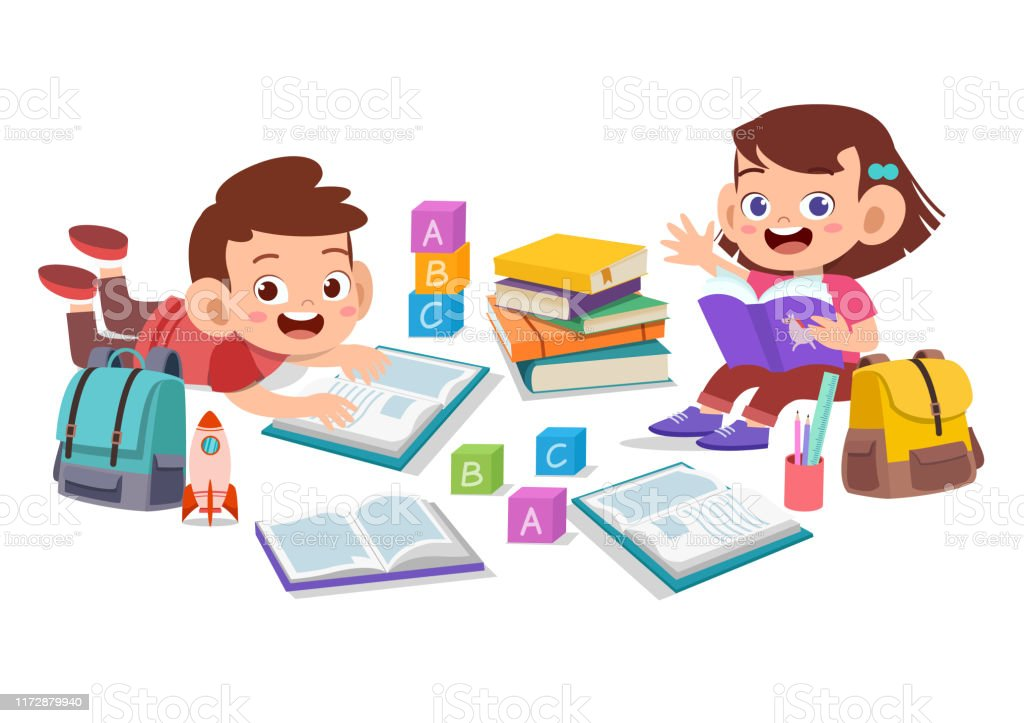 Happy Kids Read Book Study Together Stock Illustration