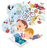 istock Happy kids reading storybook 1136555215