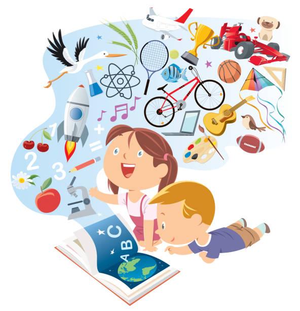 illustrations, cliparts, dessins animés et icônes de gosses heureux lisant le livre de contes - niveau primaire