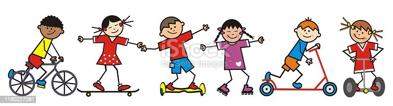 Happy kids, riders, funny vector illustration.  Group of children on different means of transport. Girls and boys are doing sports.