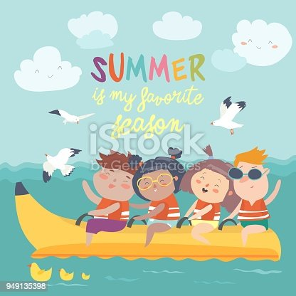 Happy kids riding a banana boat. Vector illustration