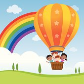 Vector illustration of diversity kids riding a hot air balloon.
