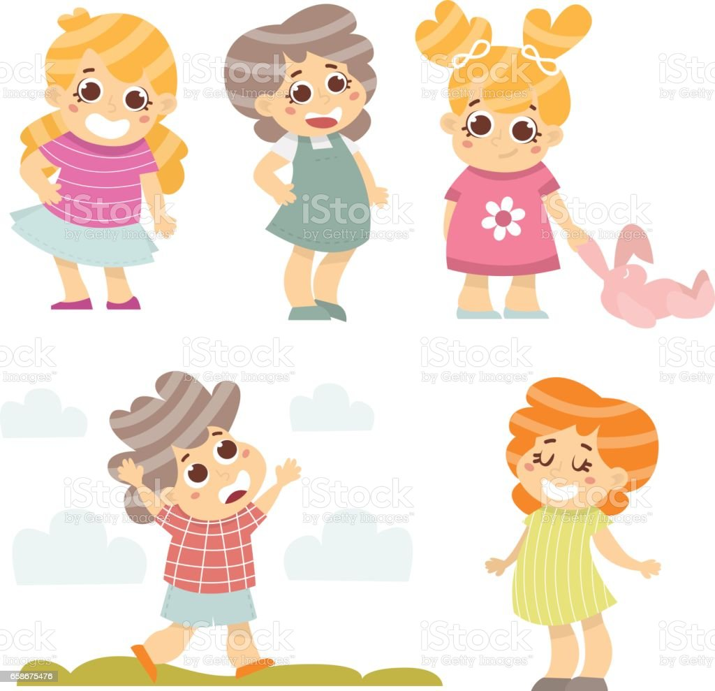 happy kids set 5 cartoon kids characters isolated on white vector