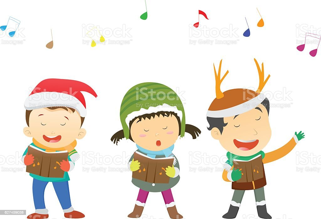 Happy Kids Singing Christmas Carols Stock Vector Art & More Images ...