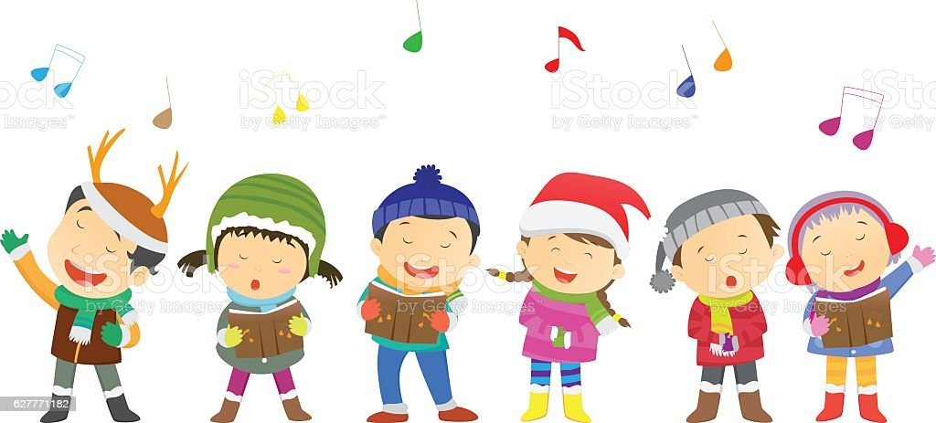 happy kids singing Christmas Carols vector art illustration