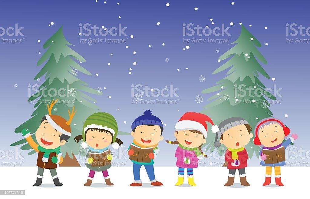 Happy Kids Singing Christmas Carols Stock Vector Art & More Images ...