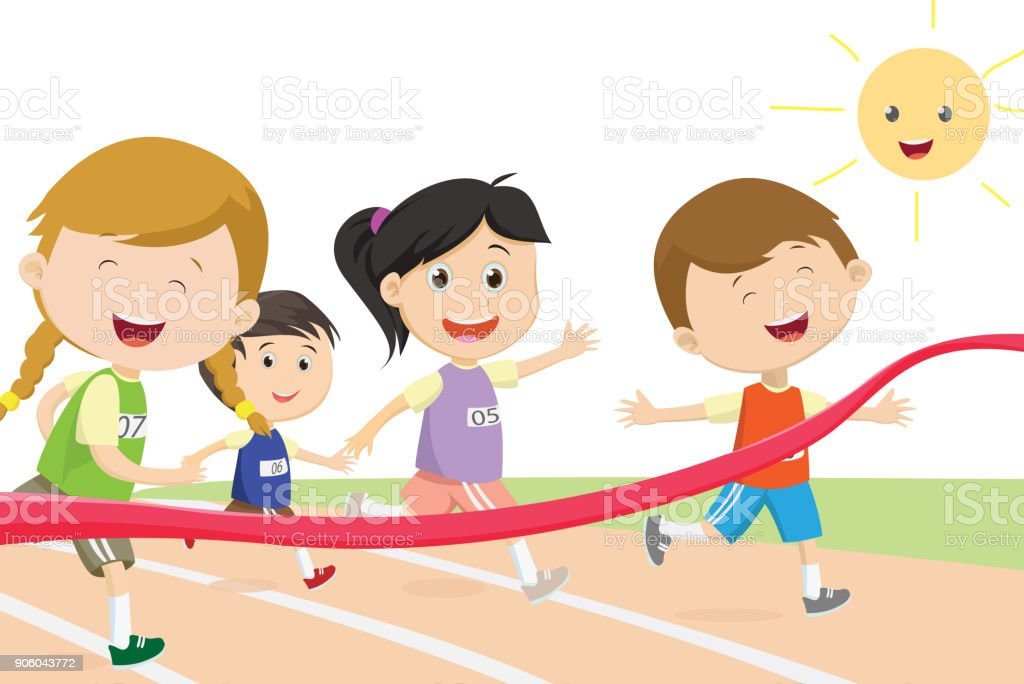 Happy kids sprinter coming first to finish line vector art illustration