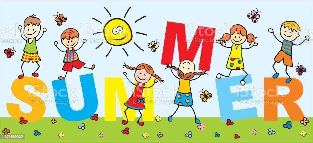 Happy Kids Summer Stock Illustration - Download Image Now ...