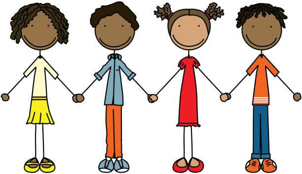 Happy crianças - ilustração de arte em vetor