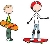 Illustration of two boys with skateboards