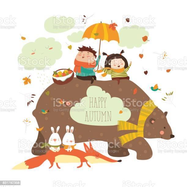 Happy kids with bear and fox vector id831782358?b=1&k=6&m=831782358&s=612x612&h=x06vo8mfxkhh9xuj3yjvxtqaybhvxjqwgkmtaymycmo=