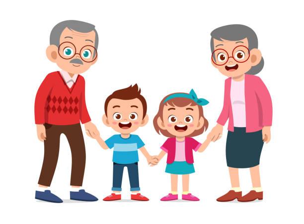 ilustraciones, imágenes clip art, dibujos animados e iconos de stock de niños felices con la ilustración de los abuelos - nietos