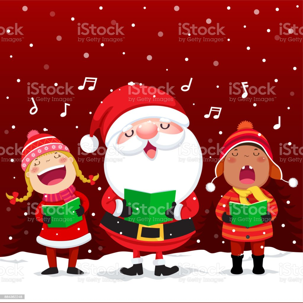 Happy Kids With Santa Claus Singing Christmas Carols stock vector ...