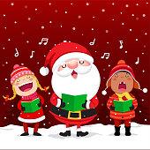 Happy kids with Santa Claus singing Christmas Carols