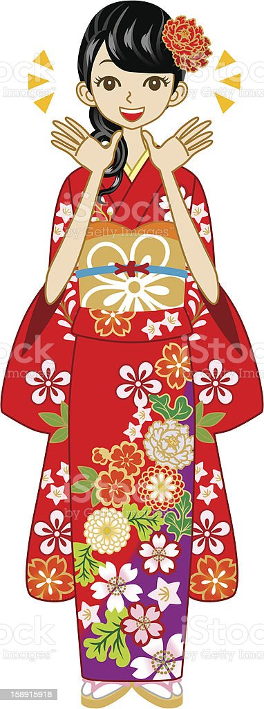 Happy Kimono woman,Red color royalty-free happy kimono womanred color stock vector art & more images of adult