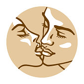 Vector graphic illustration. Linear drawing portrait of a sensual young woman and man. Beautiful kiss as illustration of romantic relationships concept.