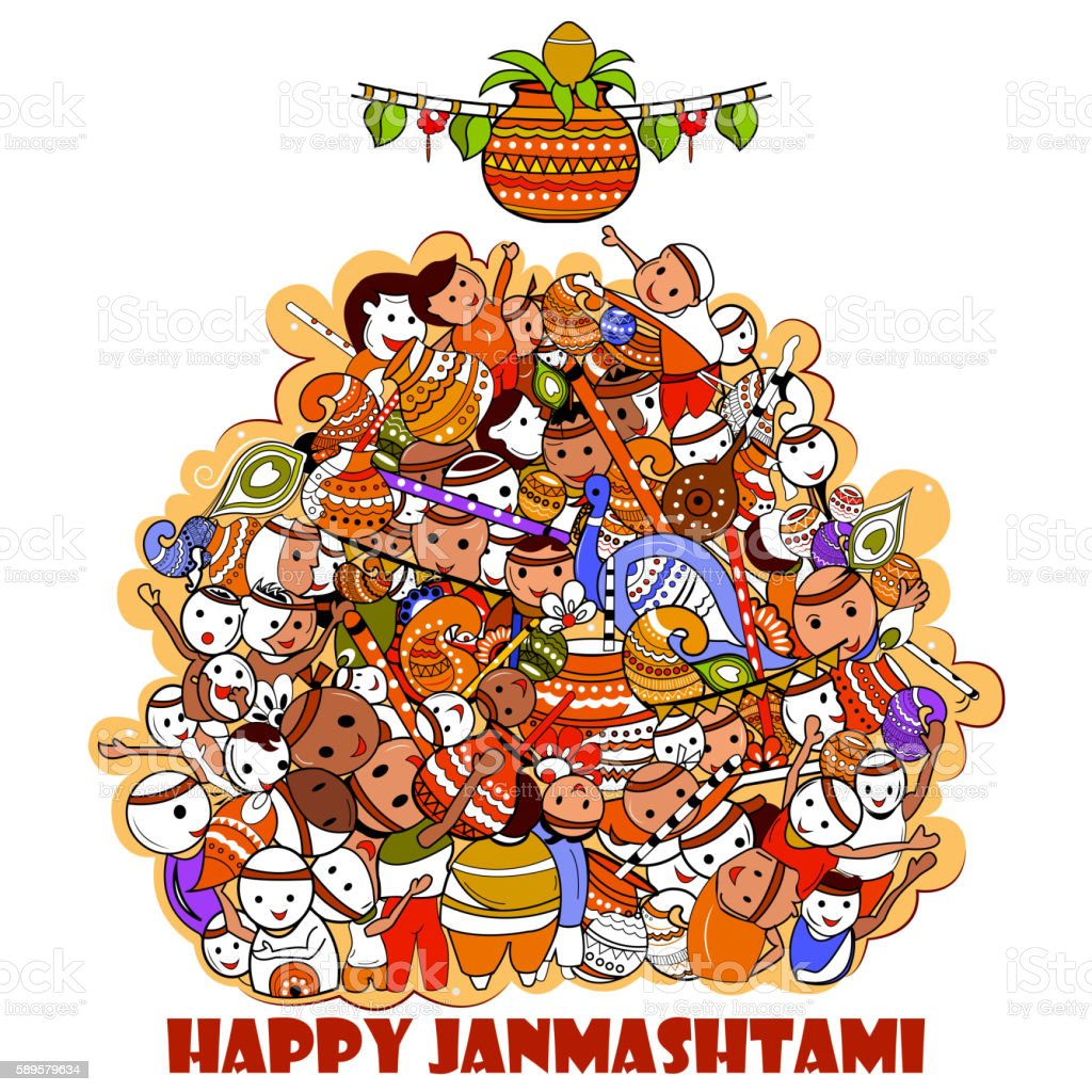 Happy Krishna Janmashtami Doodle vector art illustration