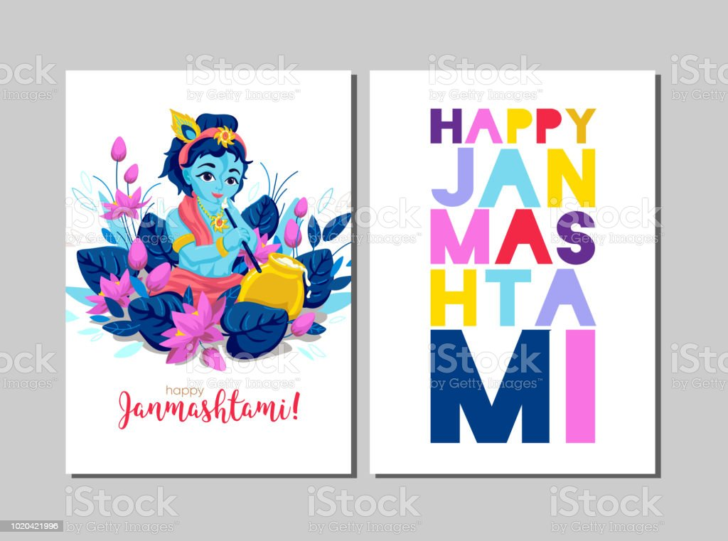 Happy Krishna Janmashtami greeting card. Janmashtami celebration vector art illustration