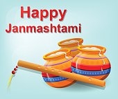Happy Krishna Janmashtami. Pot with butter and flute on beautiful gentle blue background. Vector illustration.