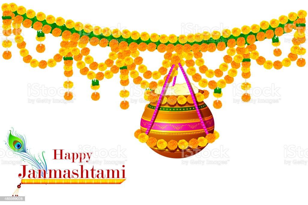 Happy Krishna Janmashtami vector art illustration