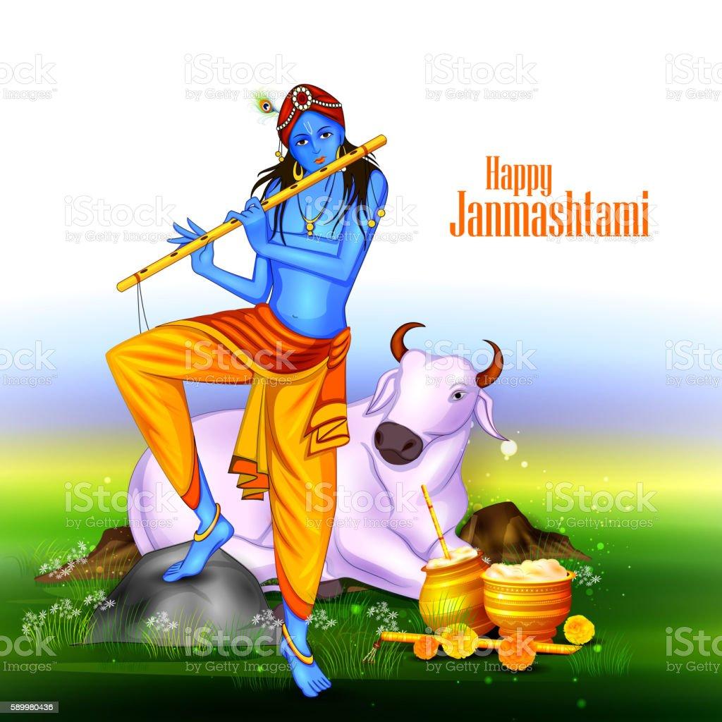 Happy Krishna Janmashtami Stock Illustration - Download