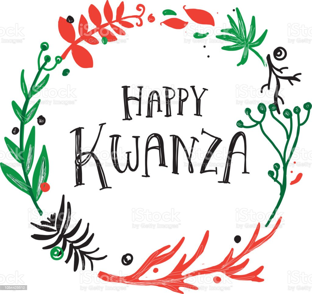 Happy Kwanza greeting design with hand drawn text and wreath with variety of branches
