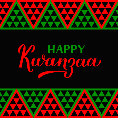 Happy Kwanzaa calligraphy hand lettering isolated on ornament background. African American holiday. Vector template for greeting card, typography poster, banner, postcard, flyer, etc