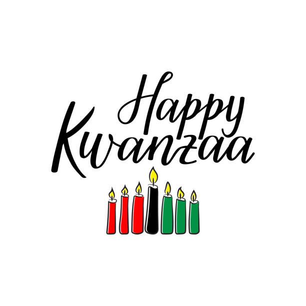 happy kwanzaa card. lettering. calligraphy vector illustration. - kwanzaa stock illustrations