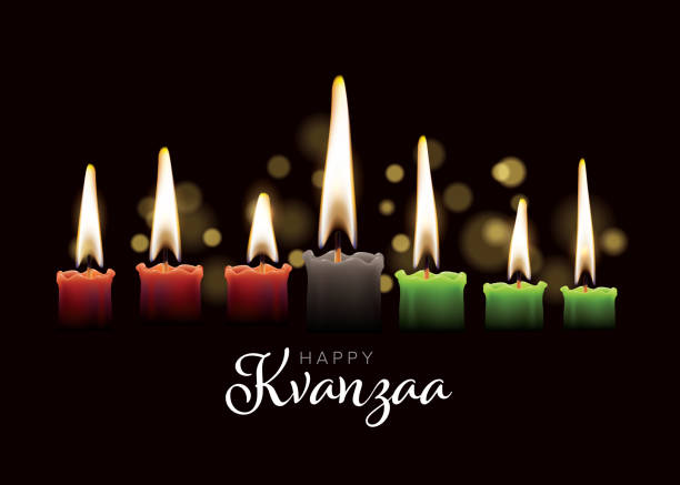 Happy kwanzaa card template with seven candles Happy kwanzaa card template with seven realistic candles and place for your text content kwanzaa stock illustrations