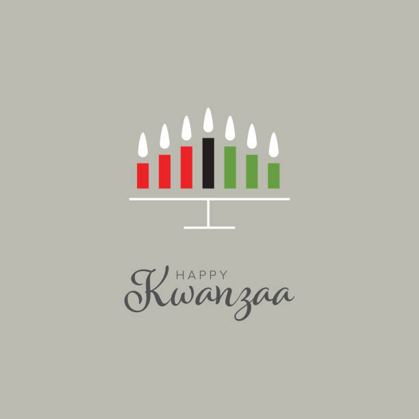 Happy kwanzaa card template with seven candles Happy kwanzaa card template with seven candles and place for your text content kwanzaa stock illustrations