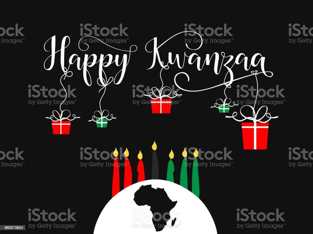 Happy Kwanzaa decorative greeting card. vector art illustration