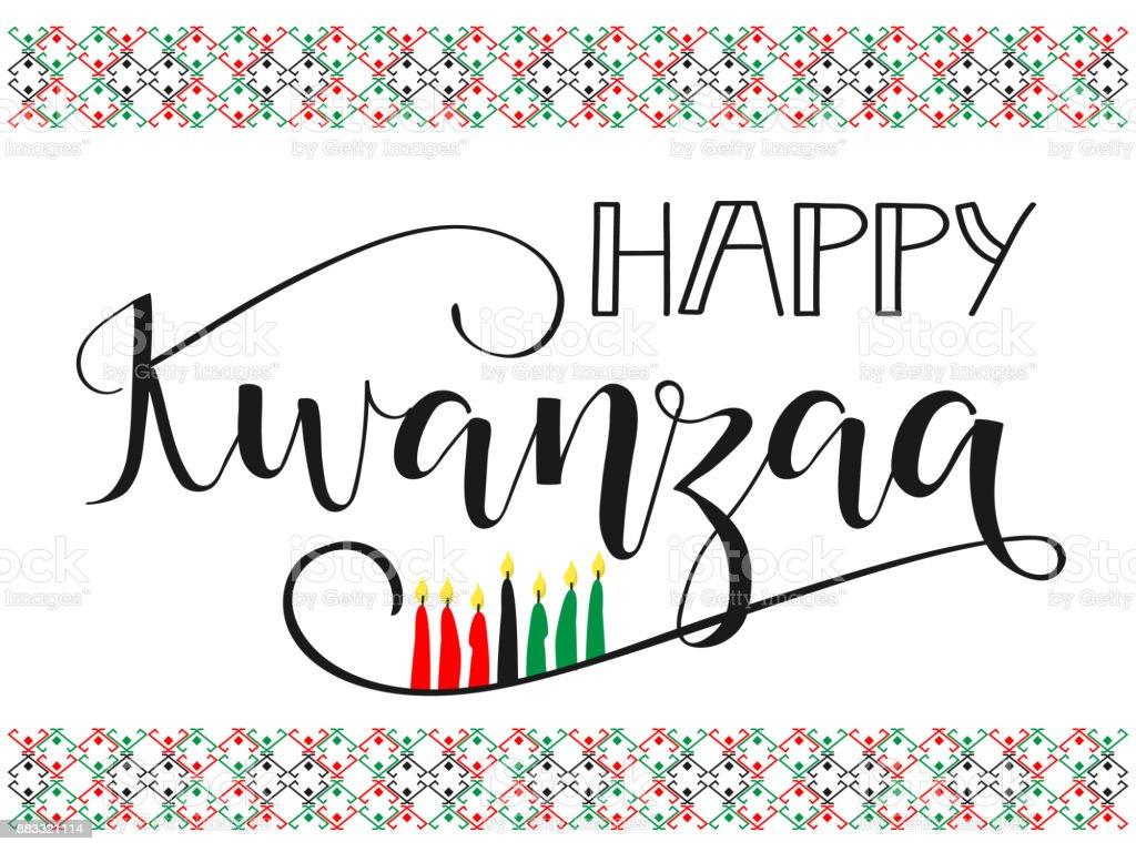 Feliz Kwanzaa decorativo do cartão de saudação. - ilustração de arte em vetor