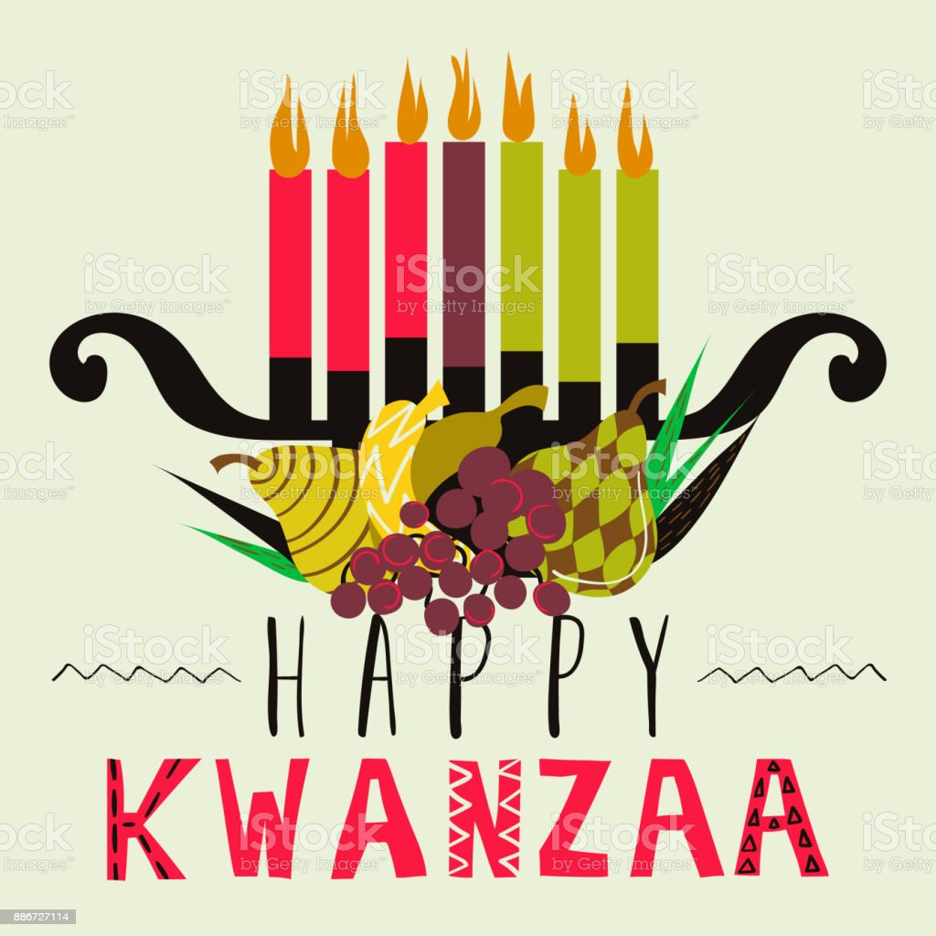 Happy Kwanzaa greeting card, background vector art illustration