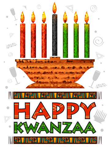 Happy Kwanzaa greetings for celebration of African American holiday festival