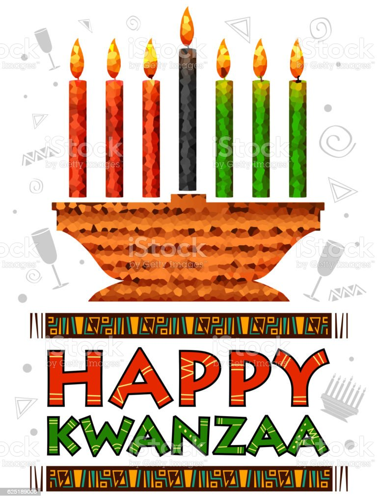 Happy Kwanzaa greetings for celebration of African American holiday festival - ilustración de arte vectorial