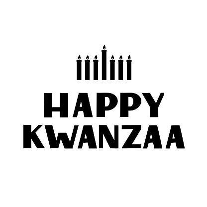 Happy Kwanzaa hand lettering with candles isolated on white. African American holiday. Vector template for typography poster, banner, greeting card, postcard, flyer, sticker, etc