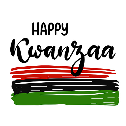 Happy Kwanzaa handwritten text for traditional african american ethnic holiday vector illustration. Concept design for greeting card with black, red, green colored flag.