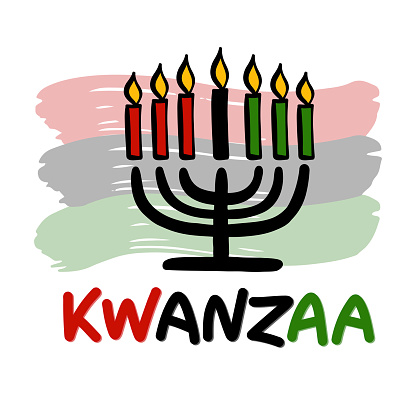 Happy Kwanzaa handwritten text for traditional african american ethnic holiday vector illustration. Design for greeting card with kinara.