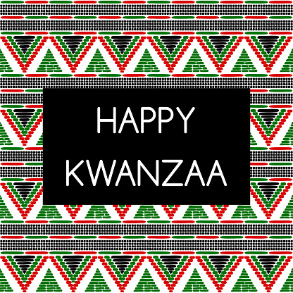 Happy Kwanzaa holiday background vector. African American cultures festival. Design with tribal pattern for celebration banner, greeting card, traditional illustration, gift label tag.